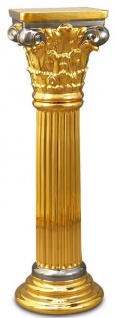 Casa Padrino Barock Keramik Säule Gold / Silber 28 x 28 x H. 88 cm - Barockmöbel