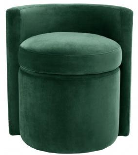 Casa Padrino Designer Sessel Dunkelgrün 61 x 57 x H. 64 cm - Runder Samt Sessel - Luxus Möbel - Vorschau 2