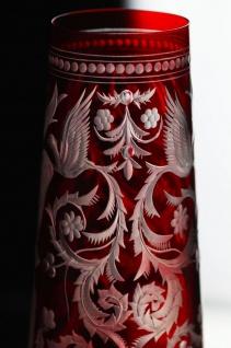 Casa Padrino Luxus Champagnerglas 6er Set Rot / Silber Ø 6, 5 x H. 26, 5 cm - Handgefertigte und handgravierte Champagnergläser - Hotel & Restaurant Accessoires - Luxus Qualität - Vorschau 4