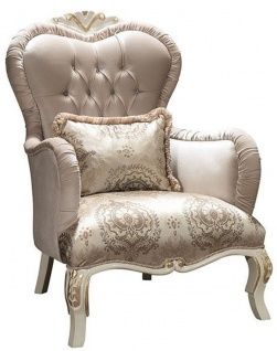Casa Padrino Luxus Barock Wohnzimmer Sessel mit Glitzersteinen und dekorativem Kissen Grau / Creme / Gold 90 x 85 x H. 110 cm - Edle Barockstil Möbel