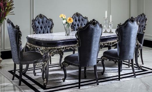 Casa Padrino Luxus Barock Esszimmer Set Weiß / Blau / Gold - 1 Esstisch & 6 Esszimmerstühle - Barock Esszimmer Möbel - Edel & Prunkvoll