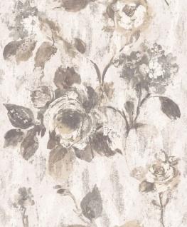 Casa Padrino Barock Vliestapete Weiß / Grau 10, 05 x 0, 53 m - Tapete mit Blumenmuster - Deko Accessoires