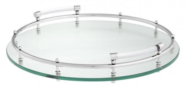 Casa Padrino Luxus Tablett / Serviertablett Silber Ø 40 x H. 7 cm - Gastronomie Accessoires