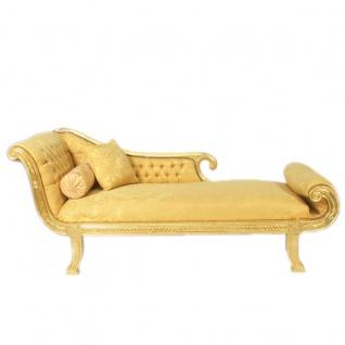 Casa Padrino Barock Chaiselongue Modell XXL Gold Muster / Gold Linke Seite - Antik Stil - Recamiere Wohnzimmer Möbel - Vorschau