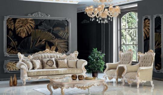 Casa Padrino Luxus Barock Wohnzimmer Set Greige / Weiß / Gold - 2 Sofas & 2 Sessel & 1 Couchtisch - Handgefertigte Wohnzimmer Möbel im Barockstil - Edel & Prunkvoll