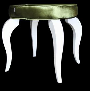 Casa Padrino Barock Sitzhocker Grün / Weiß - Designer Rundhocker - Luxus Qualität - Hocker
