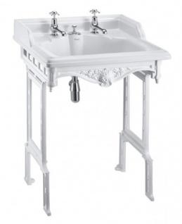 Casa Padrino Jugendstil Stand Waschtisch Weiß / Weiß mit 2 Hahnlöchern - Barock Waschbecken Barockstil Antik Stil