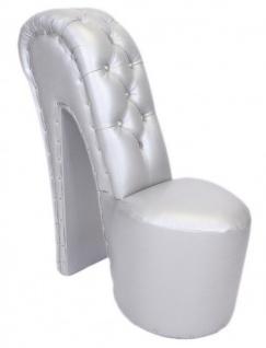 Casa Padrino High Heel Sessel mit Dekosteinen Silber Luxus Design - Designer Sessel - Club Möbel - Schuh Stuhl Sessel - Vorschau 2