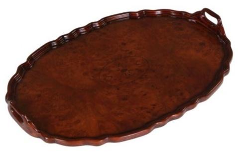 Casa Padrino Mahagoni Tablett / Serviertablett Braun 66, 5 x 44, 5 x H. 6, 2 cm - Luxus Gastronomie Accessoires