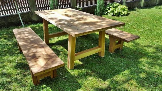 Casa Padrino Gartenmöbel Set Rustikal - Tisch + 2 Garten Bänke (Länge: 200 cm) - Eiche Massivholz
