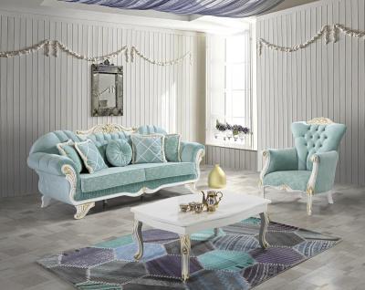 Casa Padrino Barock Wohnzimmer Set Hellgrün / Weiß / Gold - 2 Sofas & 2 Sessel & 1 Couchtisch - Edle Wohnzimmer Möbel im Barockstil
