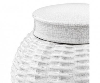 Casa Padrino Designer Keramik Vase mit Deckel Weiß Durchmesser 18 x H. 26 cm - Luxus Vase - Vorschau 2