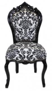 Casa Padrino Barock Esszimmer Stuhl Blumen Muster Schwarz / Weiss- Antik Stil Möbel
