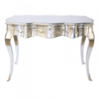 Casa Padrino Barock Schreibtisch Sekretär / Konsole Silber 120 x 60 x H80 cm