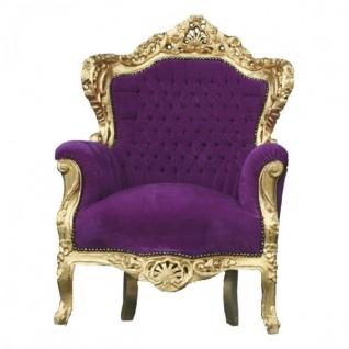 Casa Padrino Barock Sessel King Lila / Gold - Barock Möbel