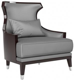 Casa Padrino Luxus Wohnzimmer Sessel Silber / Dunkelbraun 80 x 80 x H. 102 cm - Luxus Qualität - Luxus Wohnzimmer Möbel