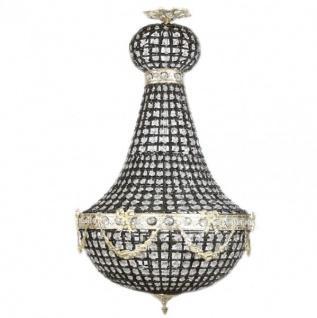 Casa Padrino Luxus Barock Decken Hängeleuchte 45 x H 90 cm - Glas / Schwarz / Silber