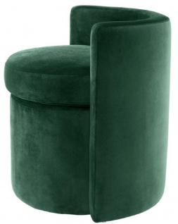 Casa Padrino Designer Sessel Dunkelgrün 61 x 57 x H. 64 cm - Runder Samt Sessel - Luxus Möbel - Vorschau 4