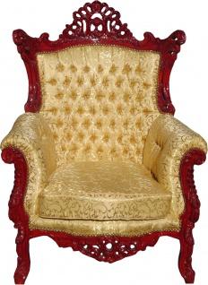 Casa Padrino Barock Sessel Al Capone Gold Muster / Braunrot 90 x 80 x H. 127 cm - Wohnzimmer Möbel - Limited Edition - Vorschau 2