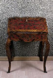 Casa Padrino Barock Sekretär Mahagony Braun Boulle Intarsien B 74 x H 91 x T 38 cm- Sekretär Antik Stil