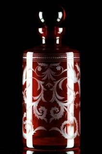 Casa Padrino Luxus Whisky Karaffe Rot / Silber Ø 12, 5 x H. 20 cm - Mundgeblasene und handgravierte Glas Karaffe - Hotel & Restaurant Accessoires - Luxus Qualität
