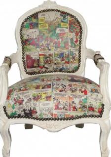 Casa Padrino Barock Kinder Stuhl Comic Lederoptik / Antik Creme - Armlehnstuhl