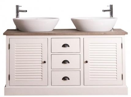 Casa Padrino Landhausstil Doppel-Waschtisch mit 2 Türen und 3 Schubladen Creme / Naturfarben 150 x 51 x H. 75 cm - Badezimmermöbel im Landhausstil