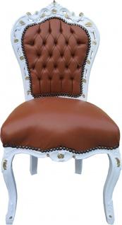 Casa Padrino Barock Esszimmer Stuhl Apricot-Braun Lederoptik Weiß Gold - Limited Edition