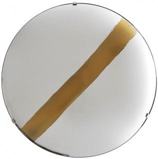 Casa Padrino Luxus Spiegel mit goldenem Streifen Ø 119 cm - Runder konkaver Wandspiegel mit Wandhalterung - Luxus Kollektion