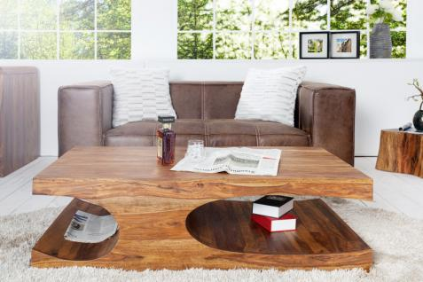 Casa Padrino Designer Massivholz Couchtisch Natur B120 x H40 x T70 cm - Salon Wohnzimmer Tisch
