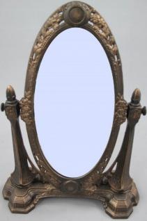 Casa Padrino Jugendstil Schminkspiegel Rustikal Braun H. 45 cm - Tischspiegel - Standspiegel - Barock & Jugendstil Deko Accessoires