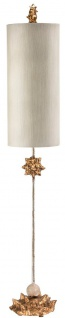 Casa Padrino Designer Tischleuchte Gold / Creme Ø 18 x H. 100, 6 cm - Moderne Tischlampe mit Zylinderförmigen Lampenschirm - Designer Leuchten