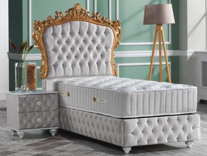 Casa Padrino Barock Schlafzimmer Set Grau / Weiß / Silber / Gold - Prunkvolles Einzelbett mit Nachttisch - Schlafzimmer Möbel im Barockstil