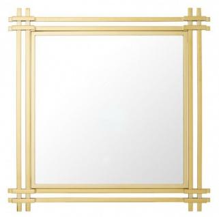 Casa Padrino Luxus Spiegel Art Deco 90 x 90 cm Edelstahl poliert Goldfarben - Wandspiegel - Luxus Hotel Möbel Collection