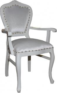 Casa Padrino Barock Luxus Damen Stuhl mit Armlehnen Weiss / Weiss - Damen Schminktisch Stuhl - Limited Edition - Vorschau 2