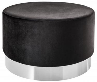 Casa Padrino Designer Sitzhocker Schwarz / Silber Ø 55 x H. 35 cm - Moderner runder Samt Hocker - Wohnzimmer Möbel