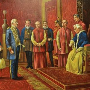 Riesiges Handgemaltes Barock Öl Gemälde Kaiser Wilhelm Audienz beim Papst Gold Prunk Rahmen 220 x 160 x 10 cm - Massives Material - Vorschau 2