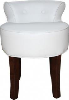 Casa Padrino Designer Hocker Boston Weiß / Braun - Barock Schminktisch Stuhl