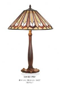 Handgefertigte Tiffany Hockerleuchte Tischleuchte Höhe 64 cm, Durchmesser 41 cm - Leuchte Lampe - Vorschau