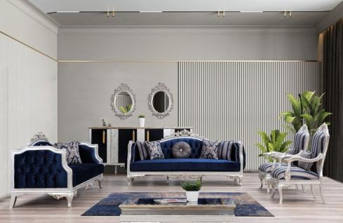 Casa Padrino Luxus Barock Wohnzimmer Set Blau / Silber / Gold - 2 Sofas & 2 Sessel & 1 Couchtisch - Wohnzimmer Möbel im Barockstil - Edel & Prunkvoll