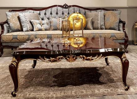 Casa Padrino Luxus Barock Couchtisch Dunkelbraun - Handgefertigter Massivholz Wohnzimmertisch - Barock Wohnzimmer Möbel - Edel & Prunkvoll