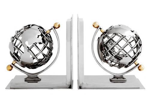 Casa Padrino Luxus Bücherstützen Globus Nickel Finish Aluminium - Bücherstütze - Book End - Luxus Kollektion - Art Deco