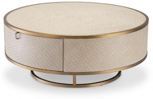 Casa Padrino Luxus Couchtisch Beige / Messingfarben Ø 100 x H. 40, 5 cm - Runder Wohnzimmertisch mit 2 Schubladen - Luxus Wohnzimmer Möbel
