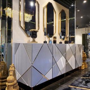 Casa Padrino Luxus Möbel Set Weiß / Gold - 1 Sideboard mit 4 Türen & 3 Wandspiegel - Wohnzimmer Möbel - Luxus Qualität