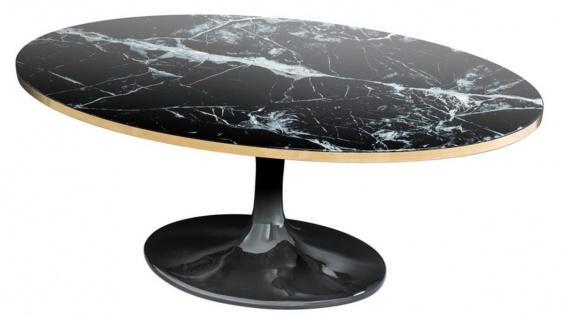 Casa Padrino Luxus Couchtisch Oval Schwarz / Messingfarben 120 x 60 x H. 50, 5 cm - Luxus Wohnzimmertisch