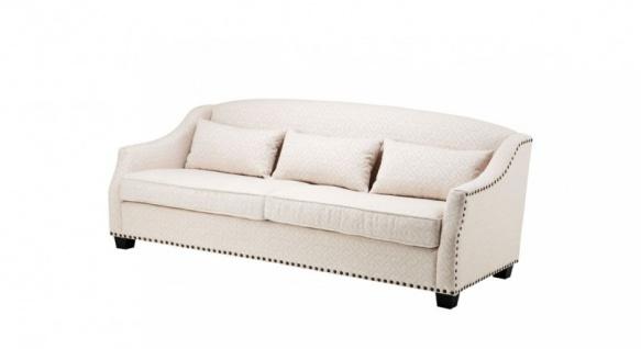 Casa Padrino Luxus Sofa Jacquard Creme - Luxus Wohnzimmer