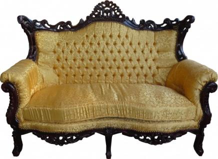 Casa Padrino Barock 2-er Sofa Master Gold Muster / Mahagoni Braun - Antik Stil Wohnzimmer Möbel