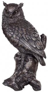 Casa Padrino Luxus Deko Bronzefigur Eule Bronze 19 x 15 x H. 36 cm - Bronze Skulptur