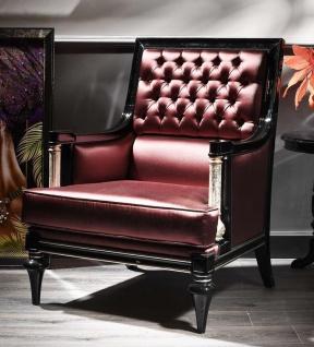 Casa Padrino Luxus Barock Wohnzimmer Leder Sessel Bordeauxrot / Schwarz / Silber 76 x 75 x H. 104 cm - Barockmöbel
