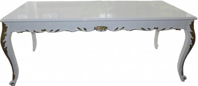 Casa Padrino Barock Esstisch Weiß Hochglanz / Gold - Esszimmer Tisch - alle Grössen